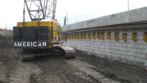 Herberger cranes work on the Grand Avenue Bridge project.