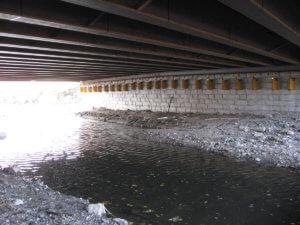 Underneath the grand avenue bridge in Des Moines.