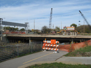 Grand Avenue Bridge under construction.