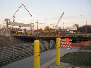 Grand Avenue Bridge under construction in Des Moines, Iowa.