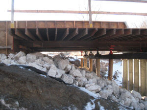 Jasper County bridge construction underway.