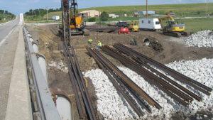 Massena Bridge steel beams are placed.