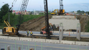 Osceola Bridge construction over I-35 on Hwy 34