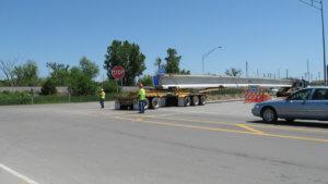 Herberger loads concrete beams for the Osceola Bridge project.