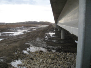 A view of the span of the DSM River bridge built by Herberger Construction.