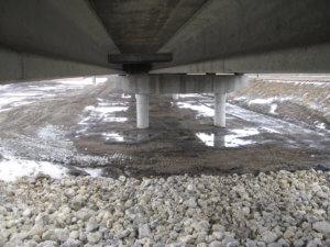The underside of the Herberger DSM River bridge.