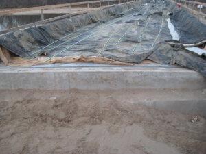 Preparations for the construction of the LaPorte Bridge.