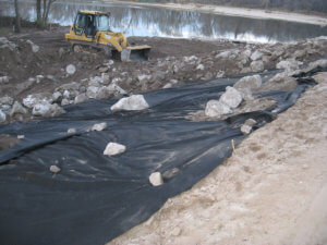 Construction underway at the LaPorte bridge site.