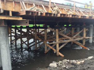 Temporary support is provided beneath the Beaver Creek bridge.