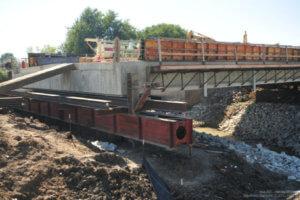 The bridge is set atop its sliding track.