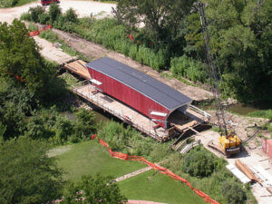 An Aerial shot of the progress of the cedar bridge rebuild.