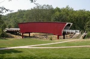 The completed cedar bridge replica.