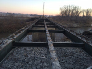 A photo of the beams of the Middle River bridge.
