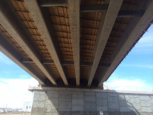 A photo of the underside of the Middle River bridge.