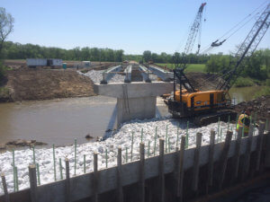 Half of the Middle River bridge beams are laid.