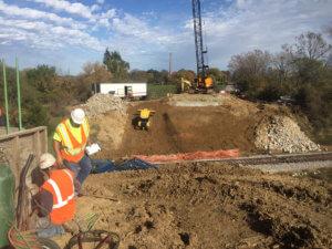 Herberger construction crews begin work on both sides of railroad tracks in Swan, Iowa.
