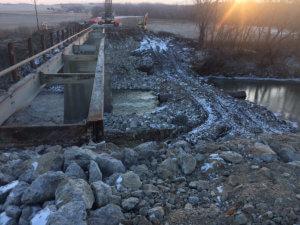 Bridge construction work over Otter Creek.