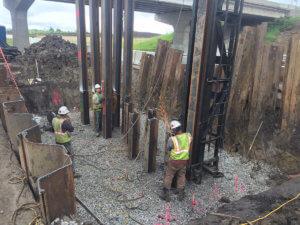 Herberger crew members lay foundations for bridge pillars.