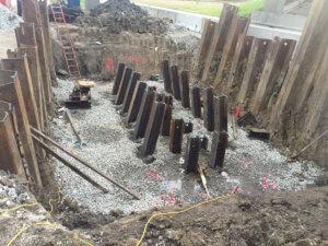 A shot of the Bridge construction preparation in Warren County.