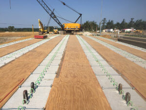 Warren County bridge beams are set.