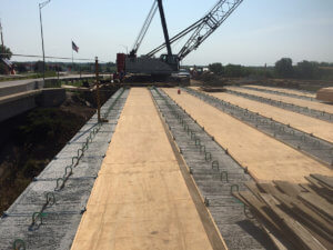 Beam construction is laid on the Warren County project.
