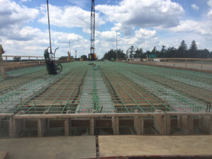 The bridge is prepped for a concrete pour.