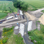 An aerial view of the slab bridge construction site in Booneville.