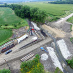 An aerial view of the Booneville slab bridge construction site.